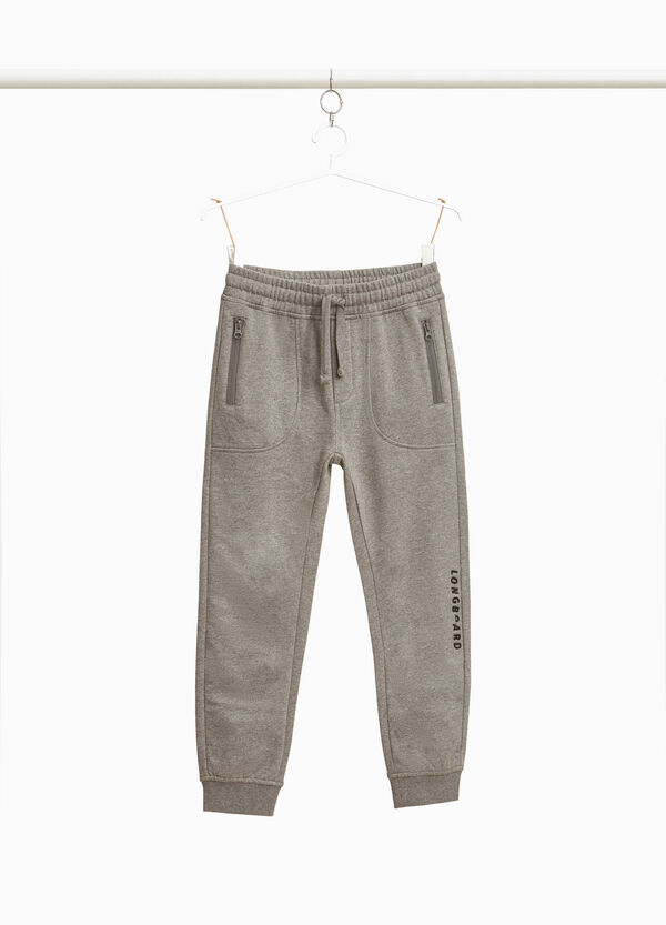 Stretch cotton joggers with lettering