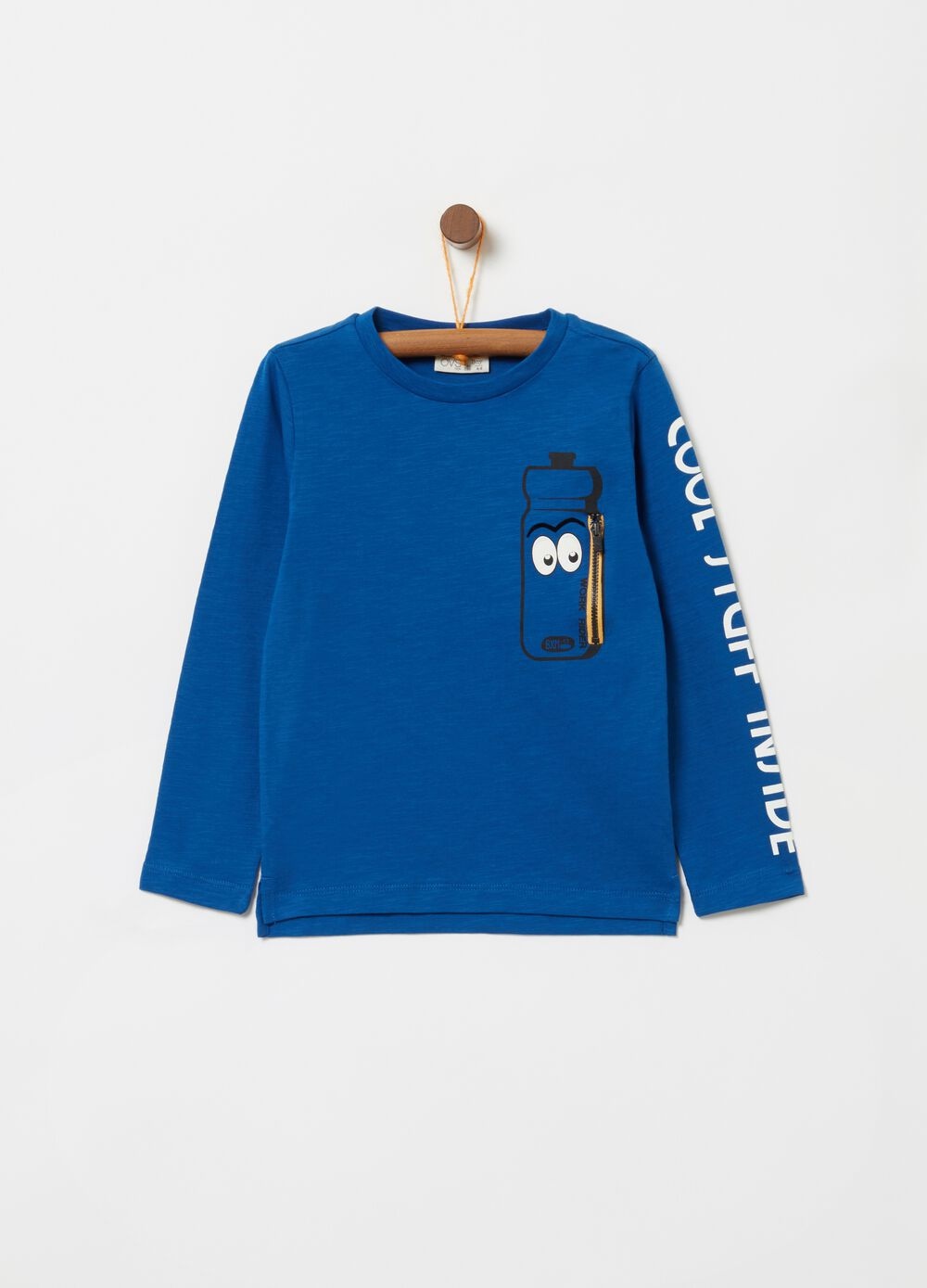 Long-sleeved mélange T-shirt with patch
