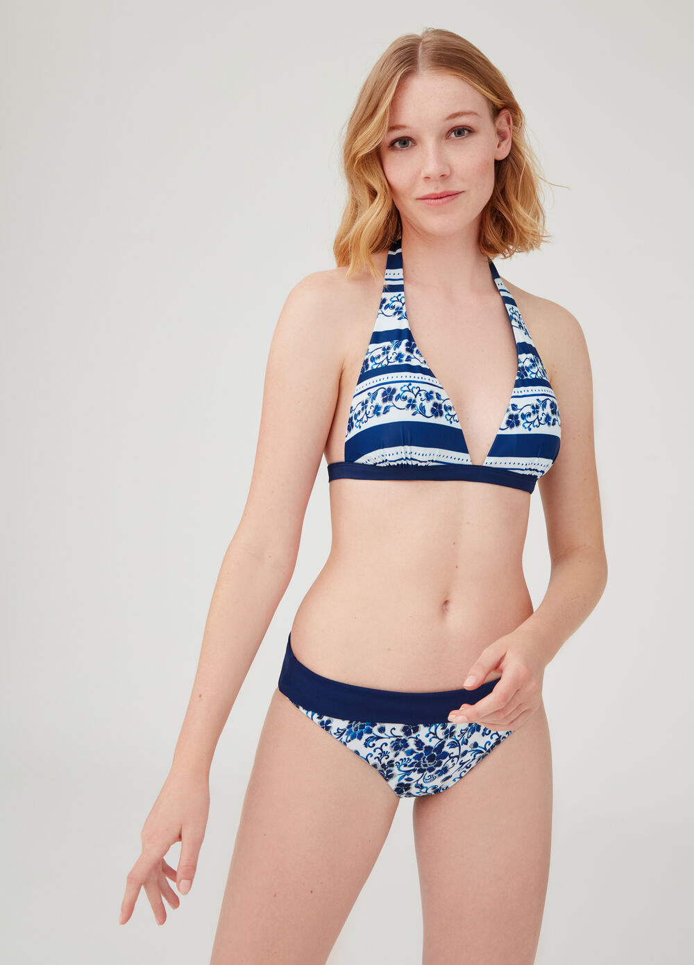 Floral swim briefs with matching fold