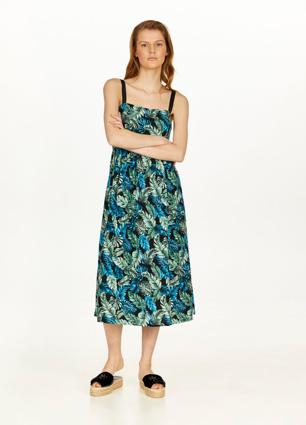 Long 100% viscose foliage dress