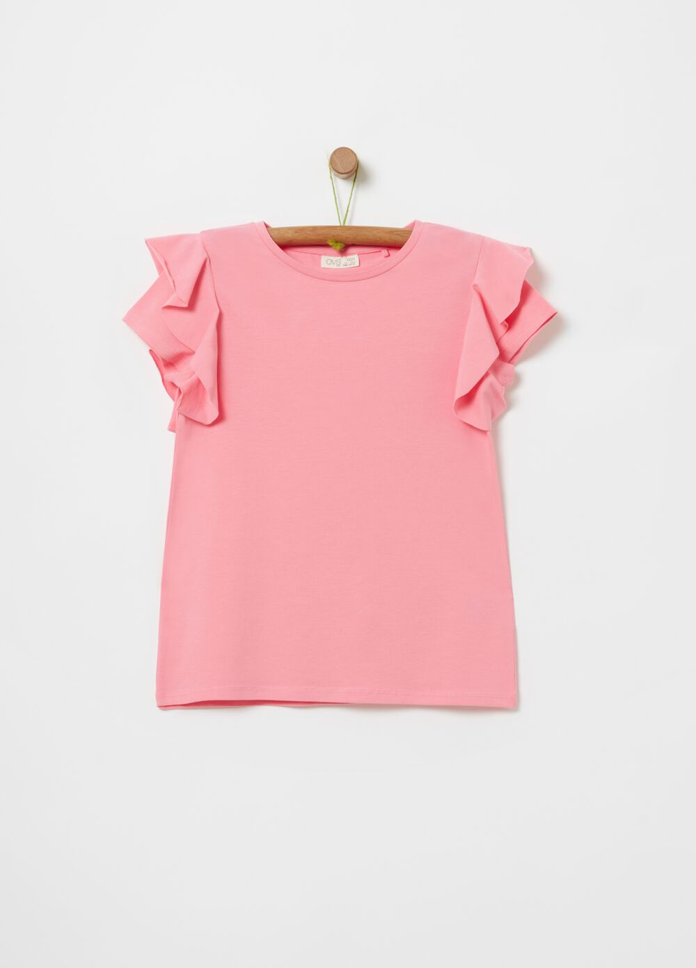 Stretch cotton T-shirt with flounces
