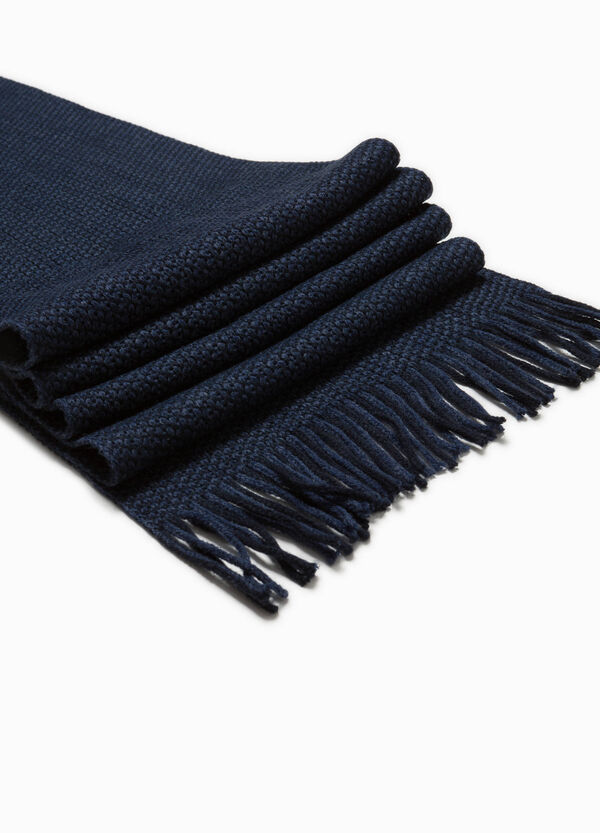 Two-tone knitted scarf.
