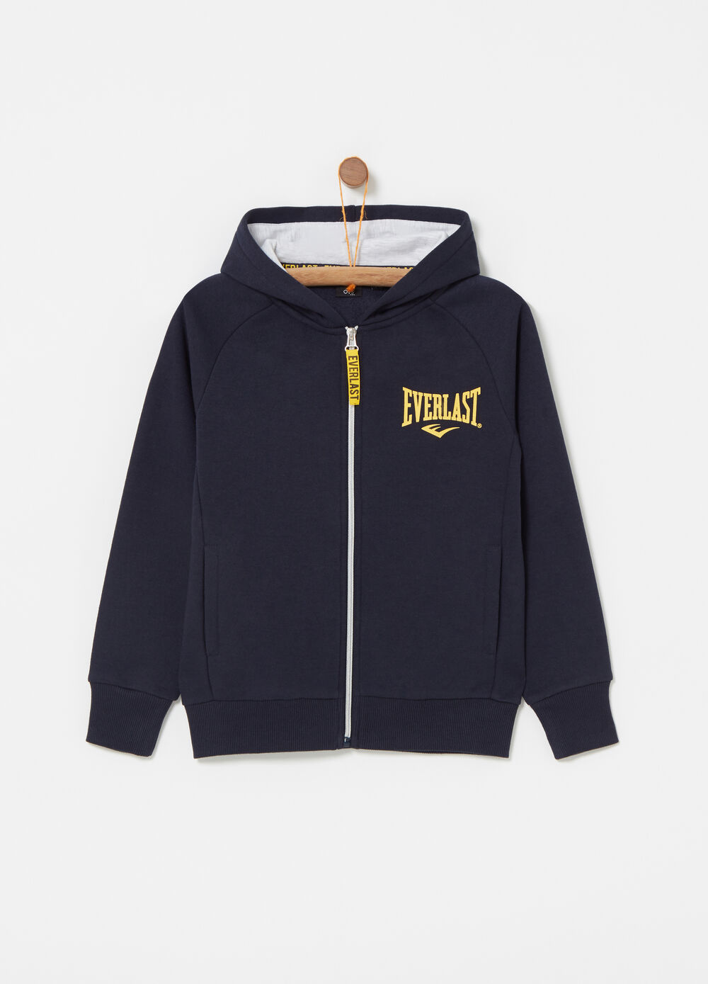 Heavy full-zip sweatshirt with Everlast print