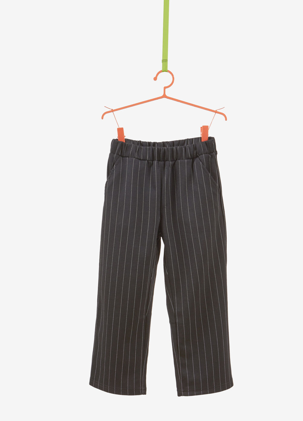 Stretch crop trousers with striped pattern