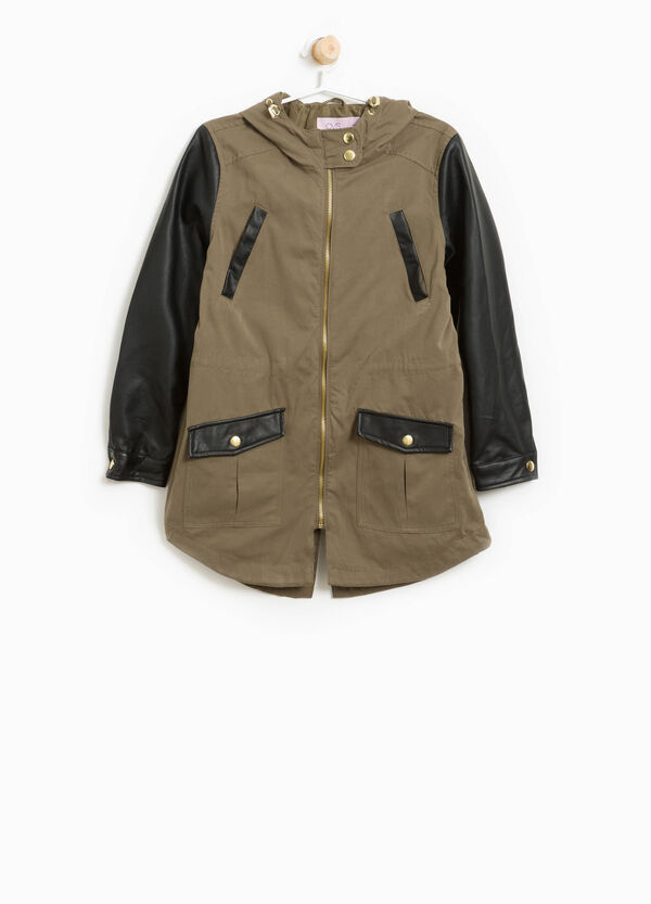 Cotton parka with large hood.