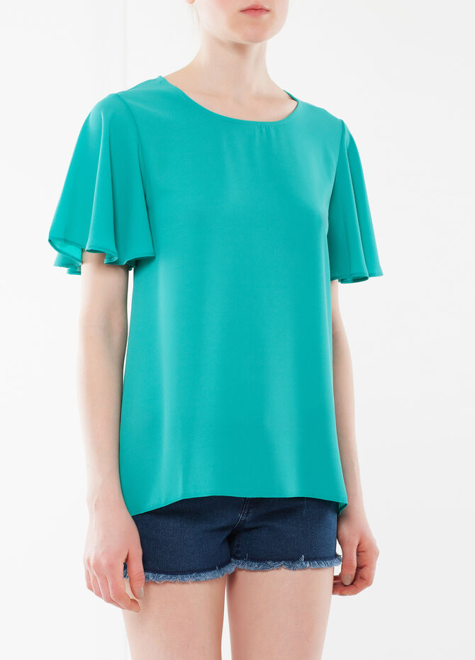 T-shirt with frill sleeves
