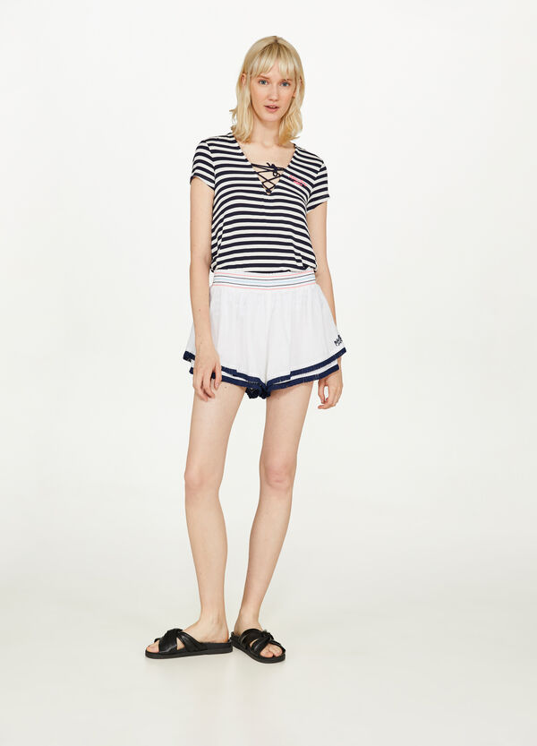 Cotton shorts with fringing by Maui and Sons
