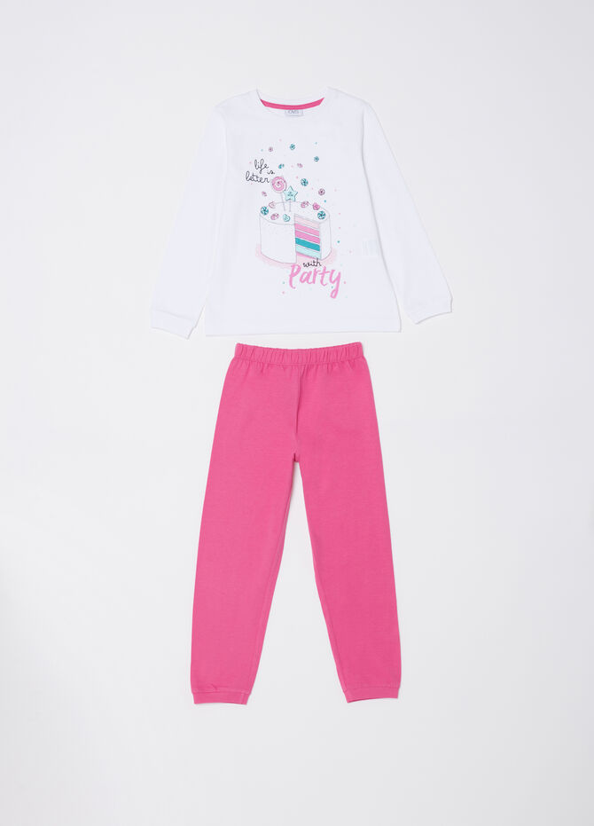 ***Cotton jersey pyjamas with cake print