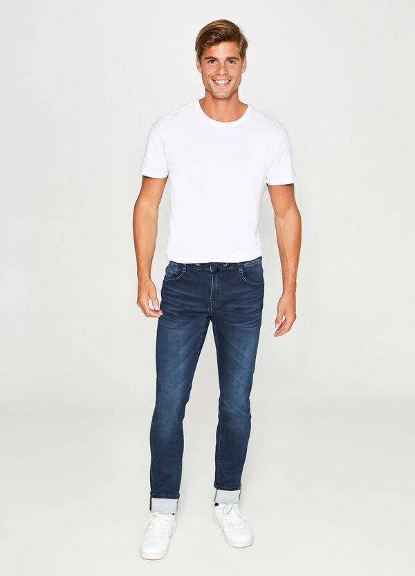 Slim-fit worn-effect stretch jeans with drawstring