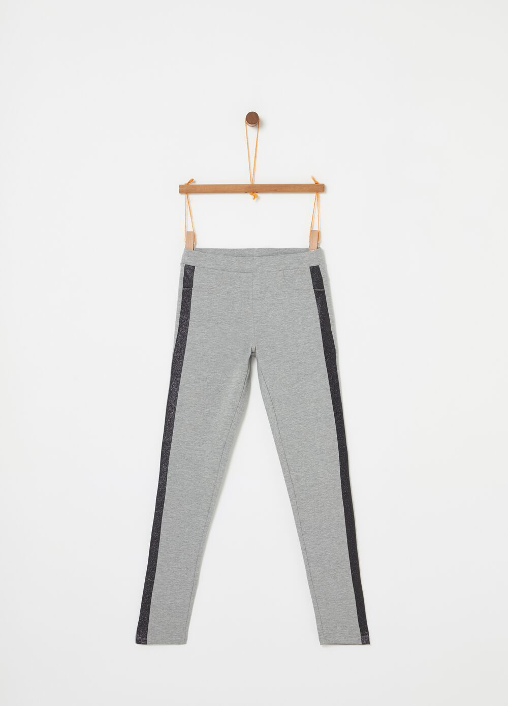 Jeggings with contrasting side bands