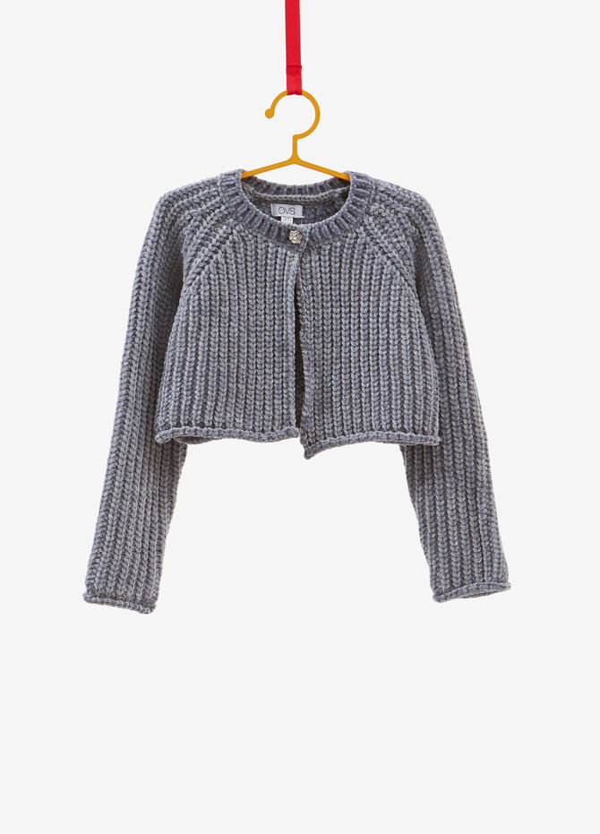 Chenille knitted cardigan