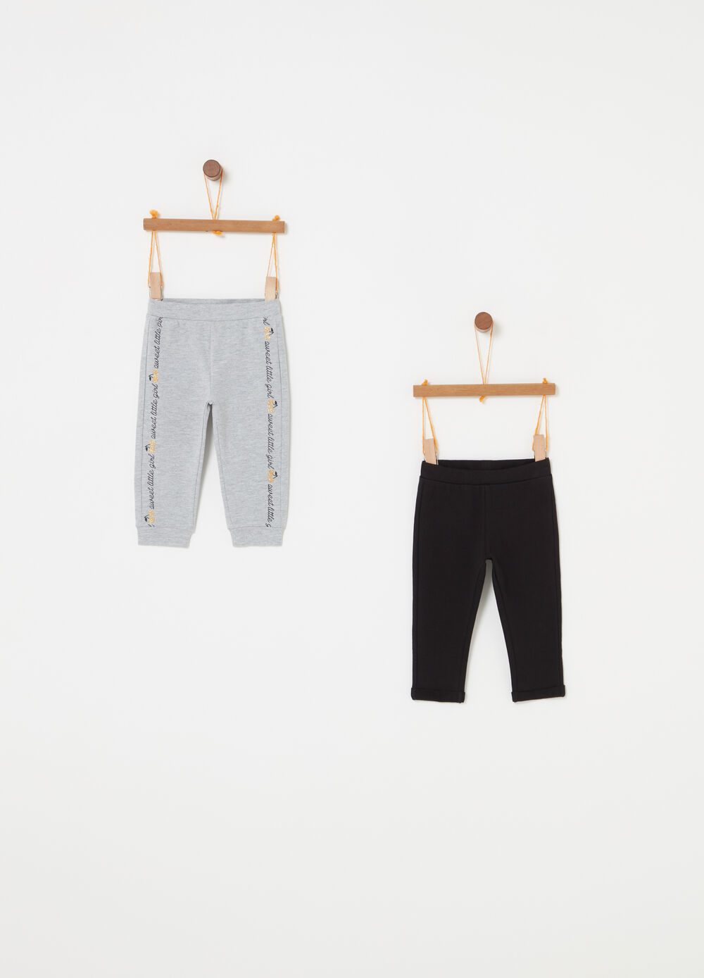 Two-pack trousers with glitter print