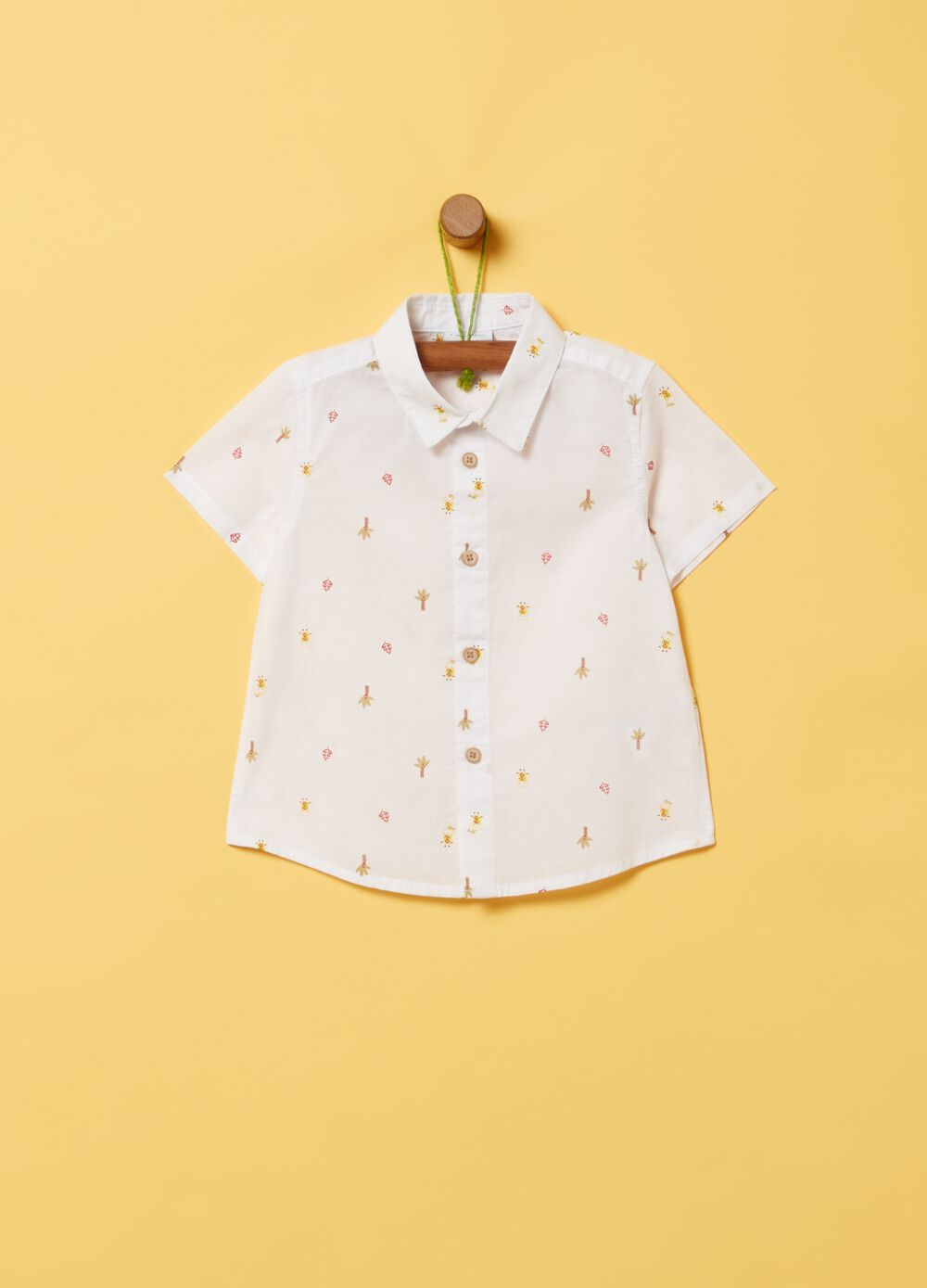 Cotton and linen shirt with print
