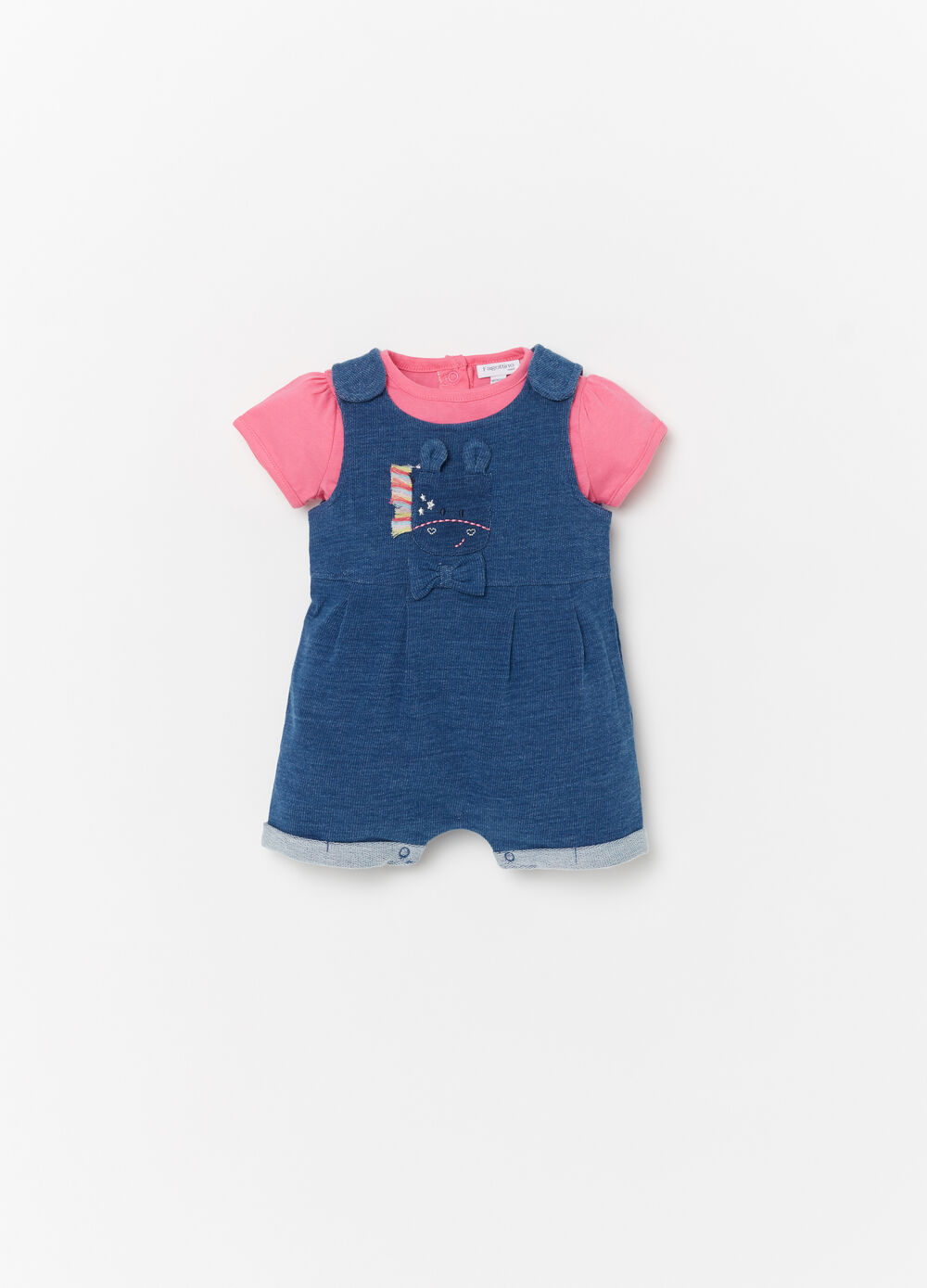 T-shirt and romper set with embroidery and diamantés