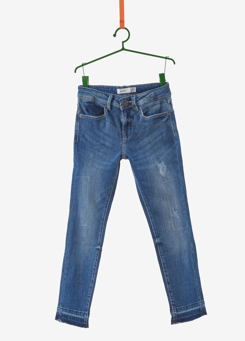 Worn-effect slim-fit jeans with frayed hem