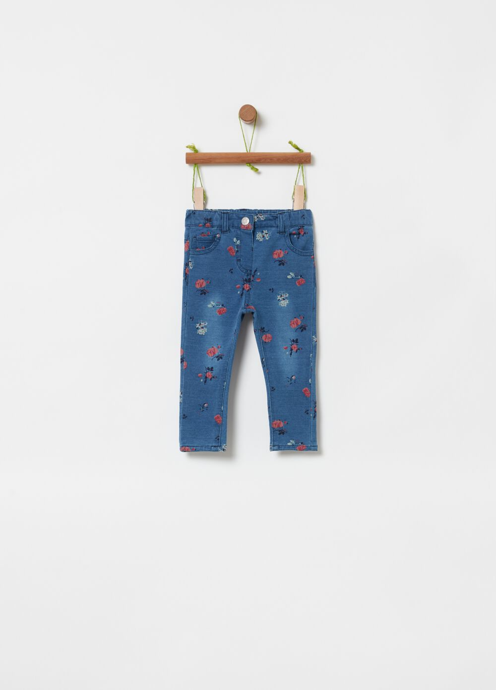 Stretch jeans with all-over print