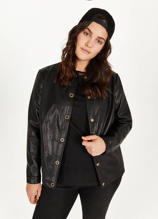 Curvy leather look jacket with hammered effect.