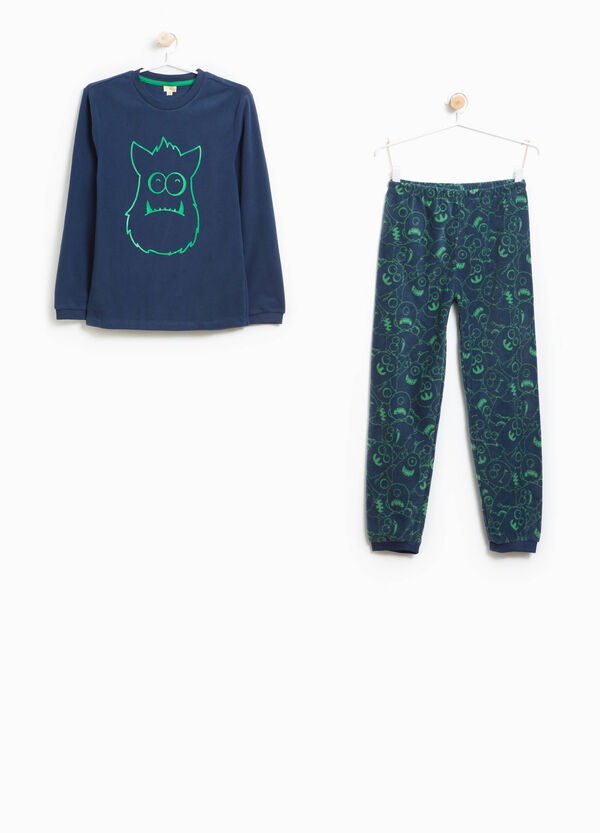 Pyjamas with monsters pattern and print