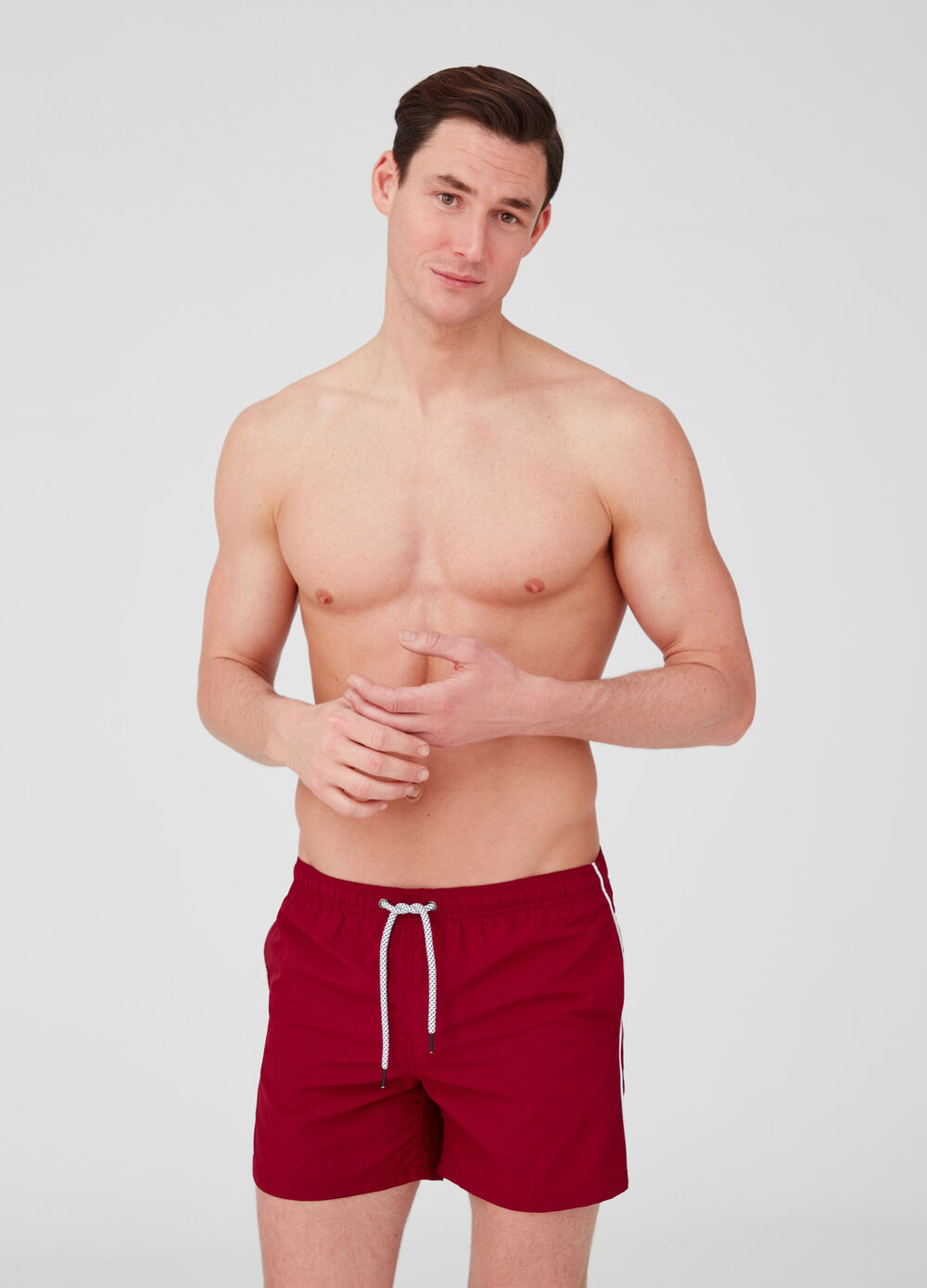 Swim shorts with pockets, drawstring and insert