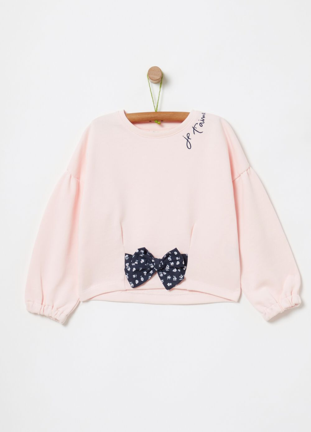 100% cotton sweatshirt with bow