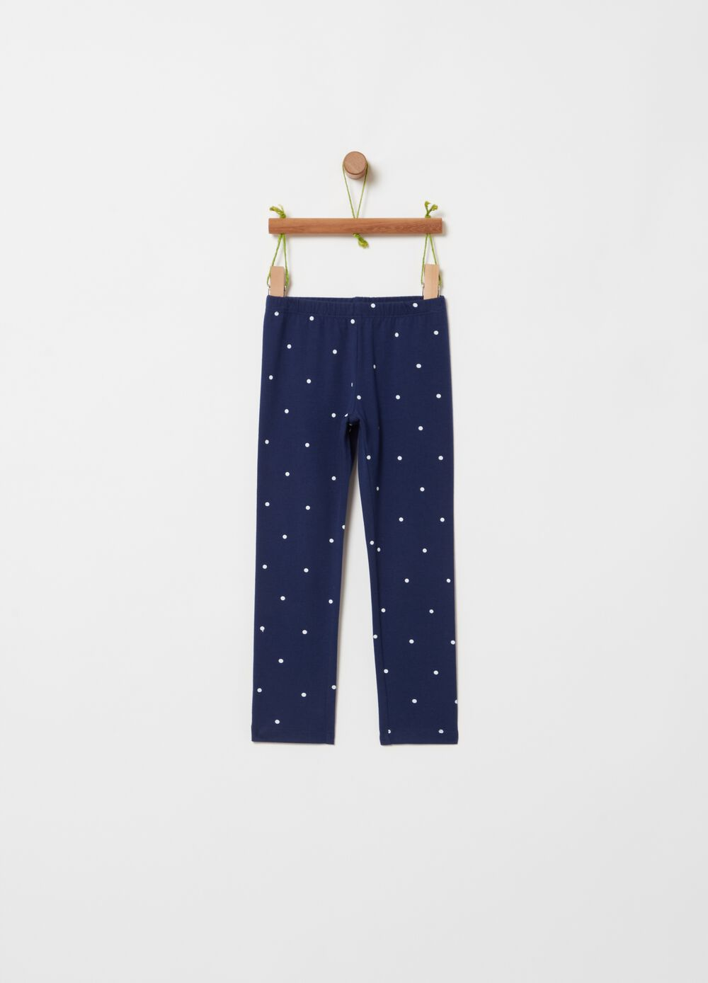 Stretch leggings with polka dot print