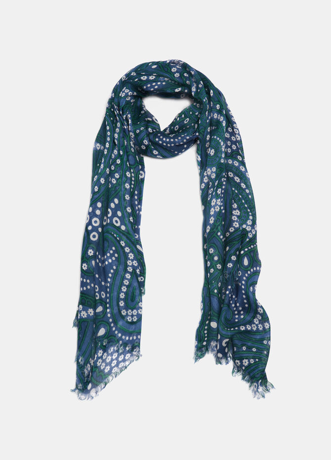 Floral fringed scarf in viscose