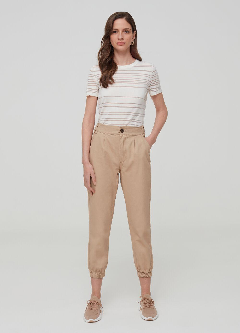 Solid colour cargo trousers