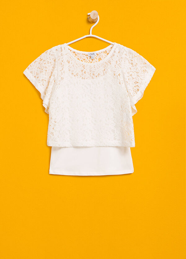 Faux layered stretch lace T-shirt | OVS