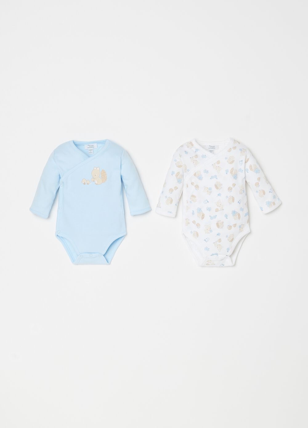 Two-pack cotton bodysuits with forest animals