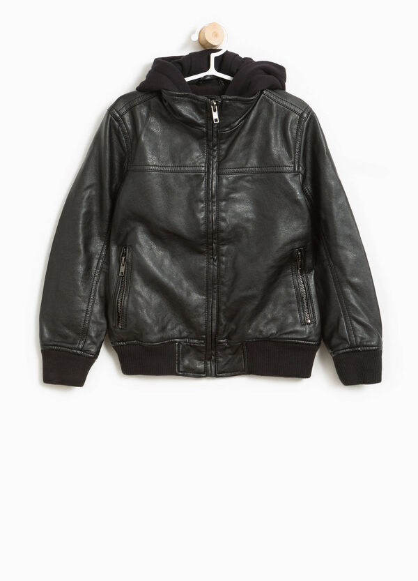 Textured bomber jacket with hood