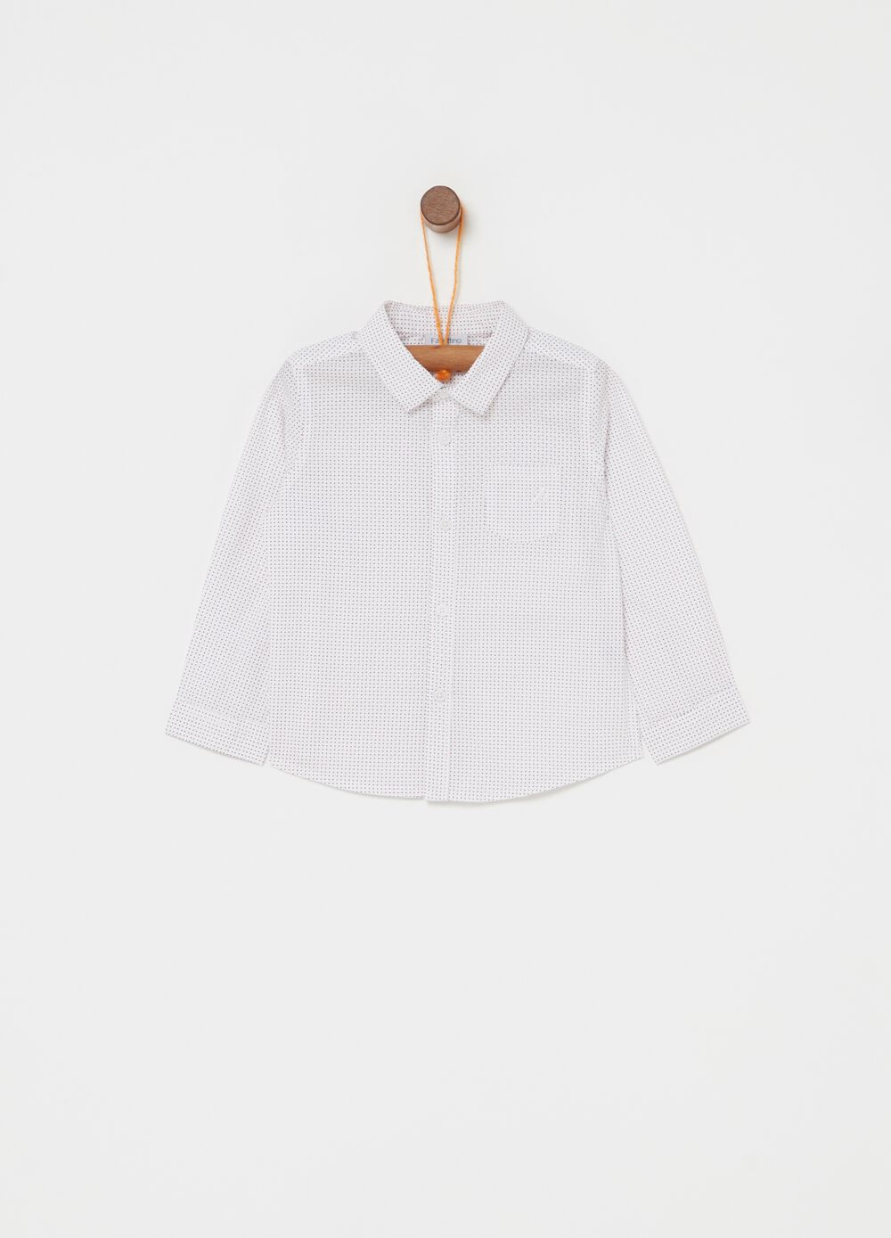 Pure cotton shirt with mini polka dot pattern