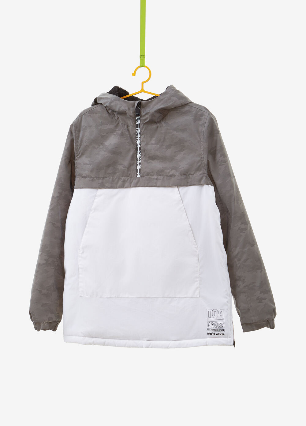 Hooded jacket with side zips