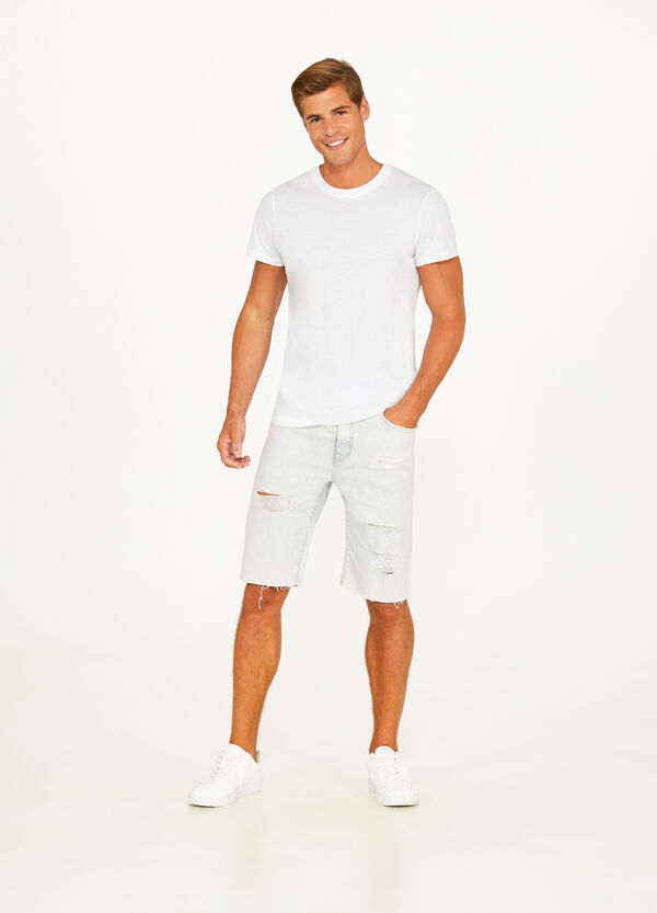 Worn-effect mis-dyed stretch denim Bermuda shorts