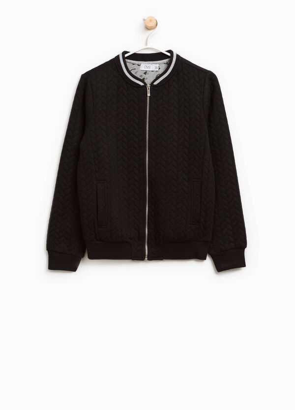 Raised weave stretch bomber jacket