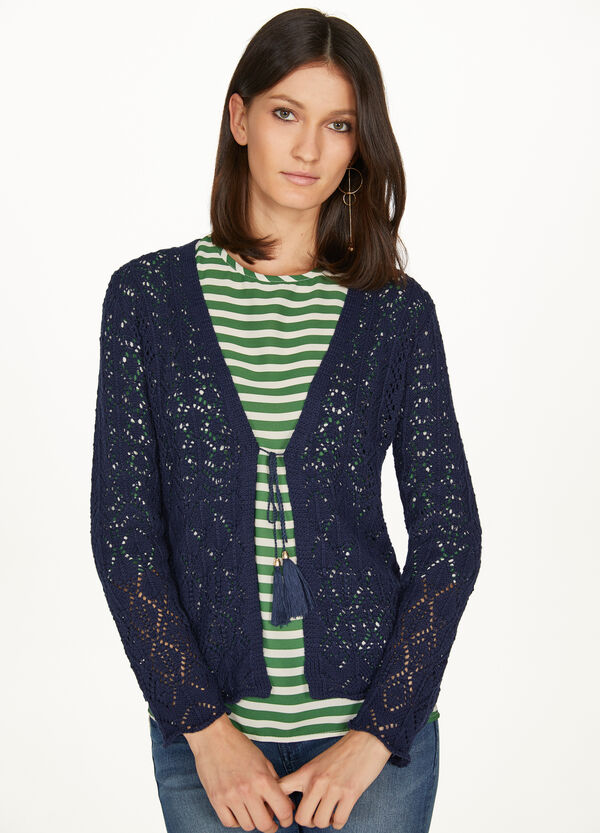 Cotton cardigan with openwork