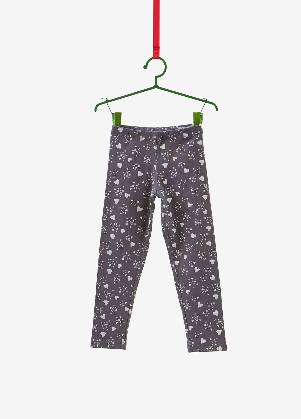 Stretch cotton leggings with all-over hearts