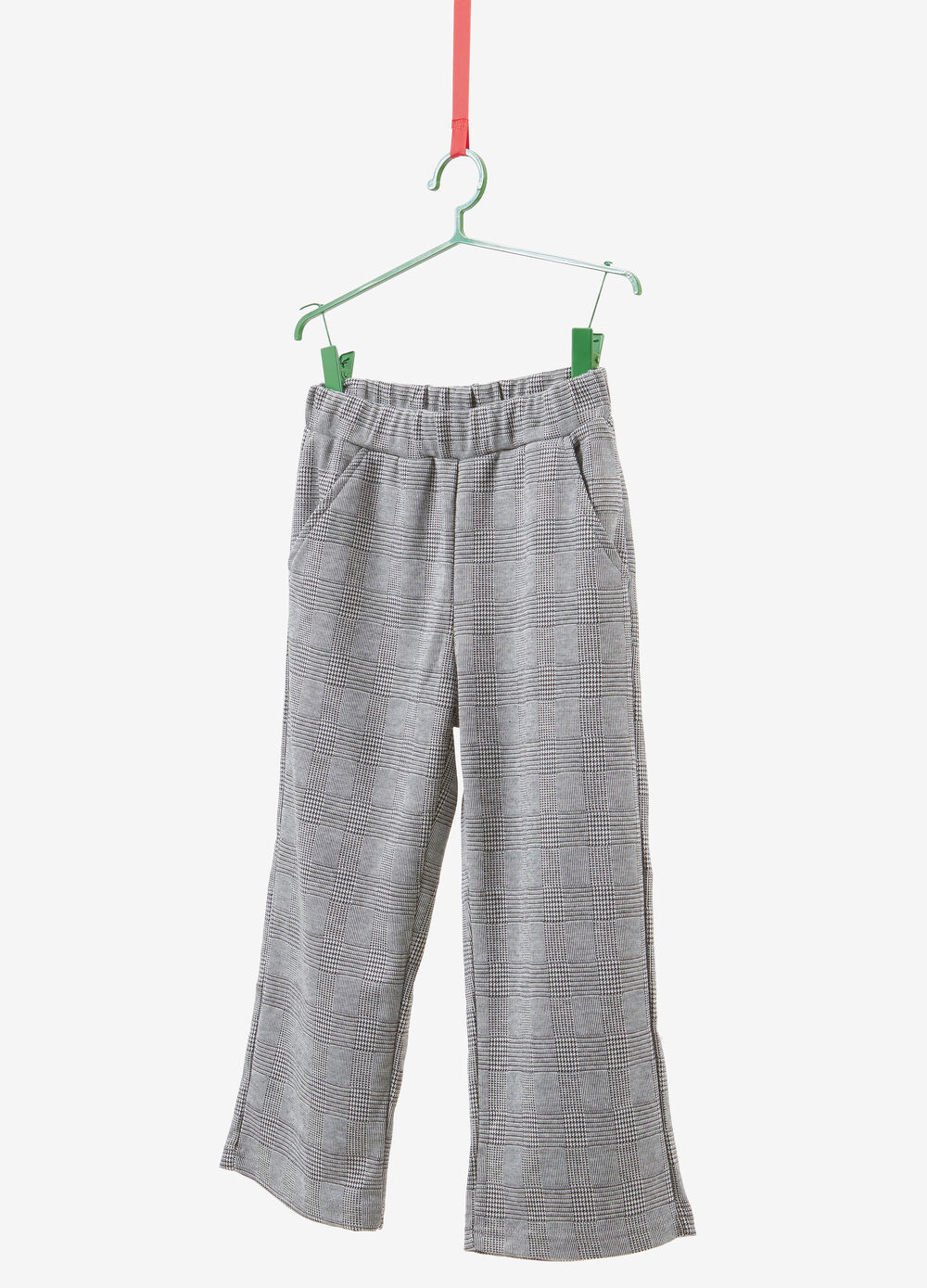 Stretch crop trousers with check pattern