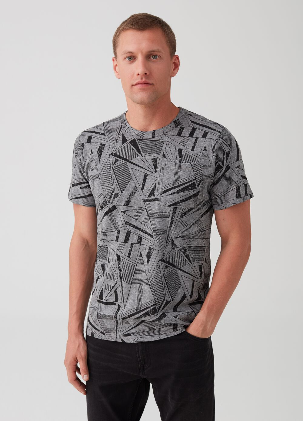 Printed cotton stretch T-shirt