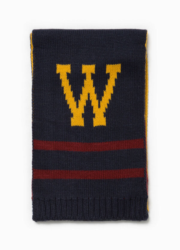 Knitted scarf with embroidered lettering   OVS