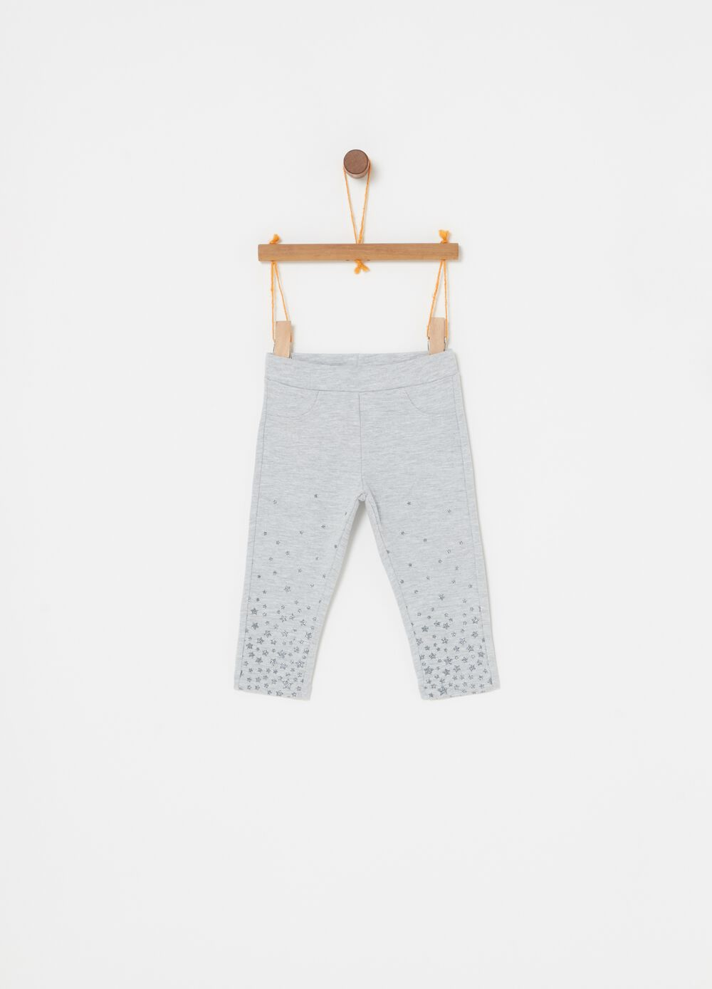 Stretch mélange trousers with glitter print