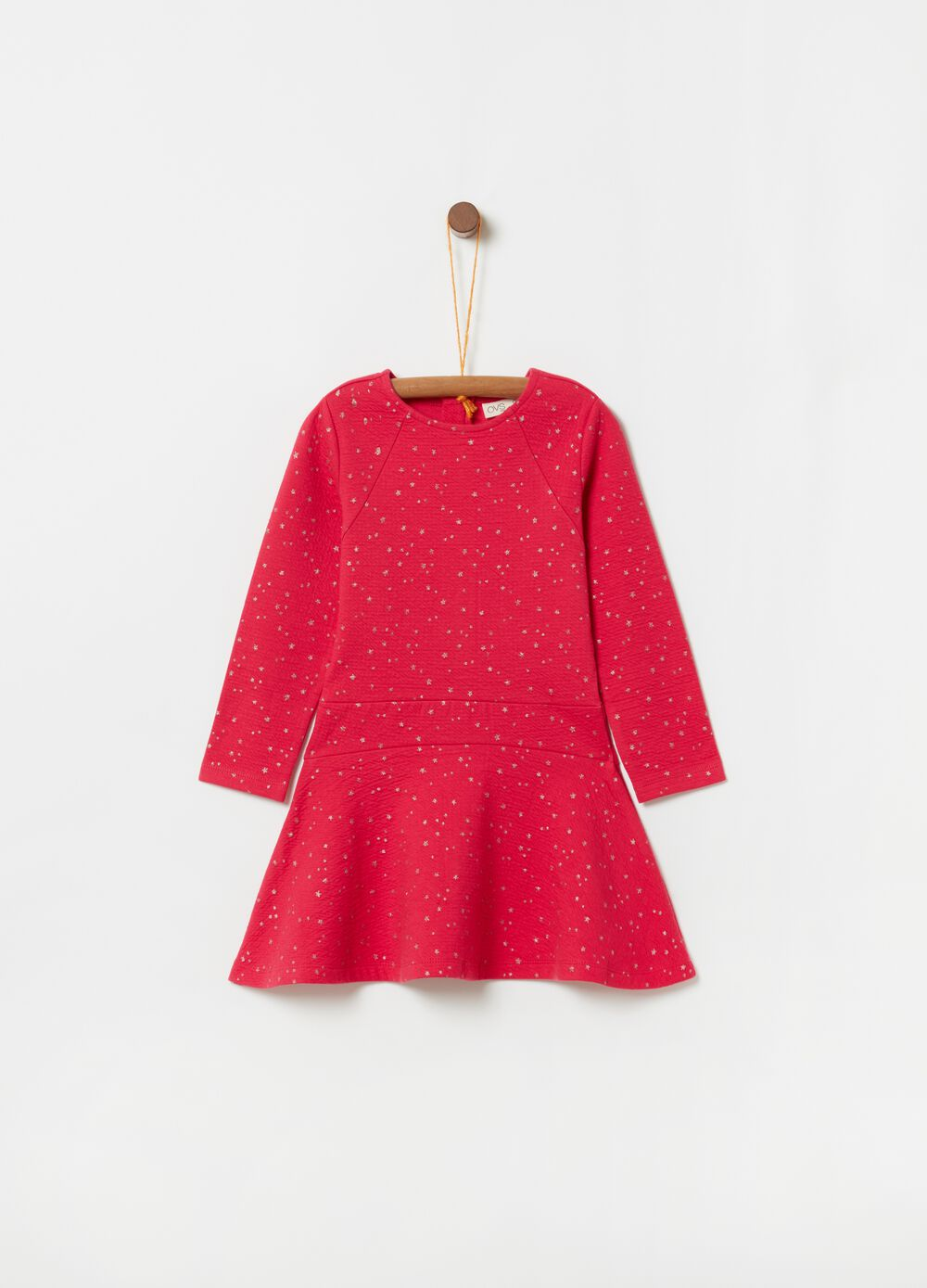 Dress with long sleeves, zip and glitter