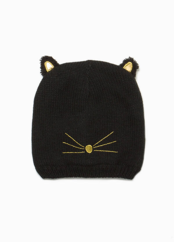 Knitted beanie cap with embroidery and ears