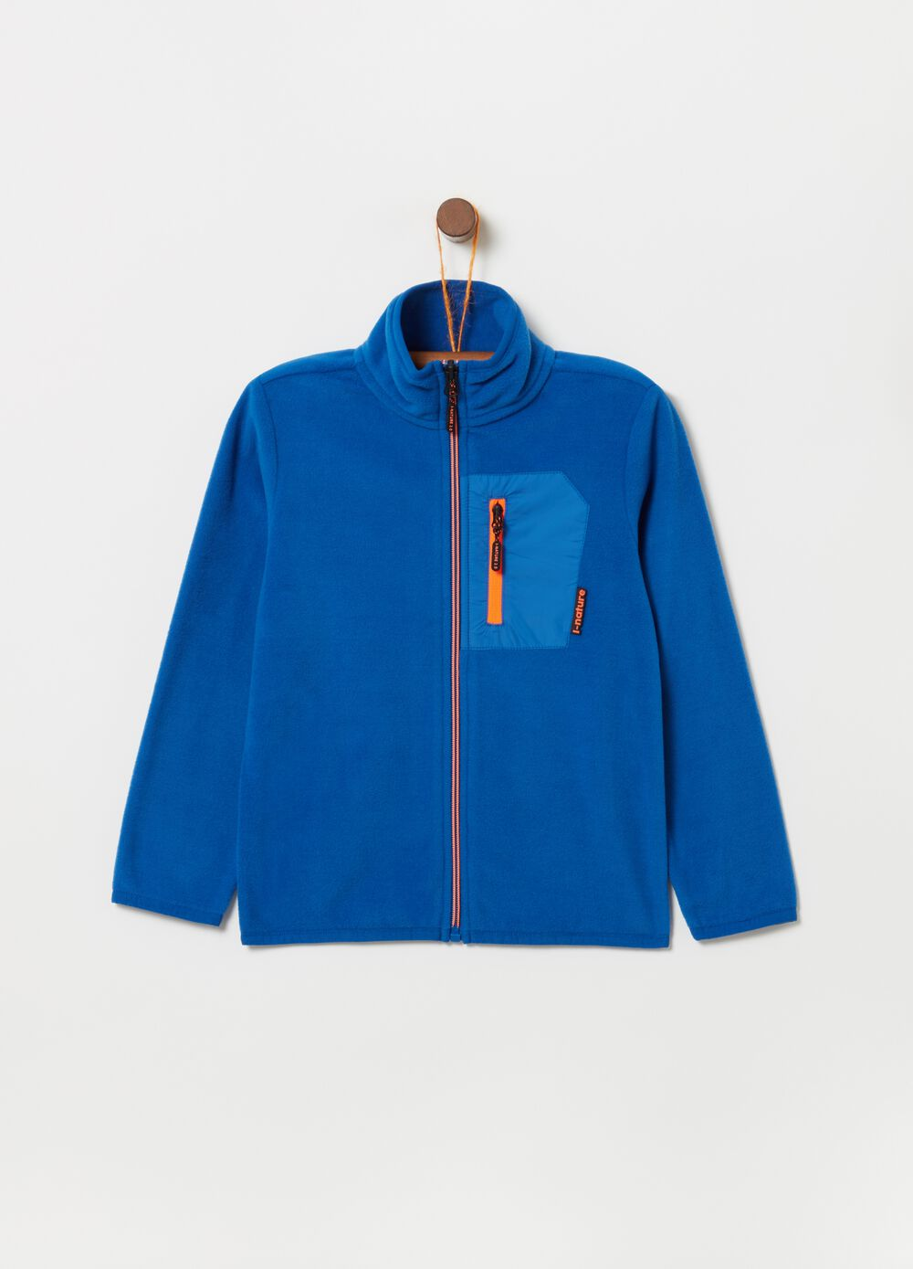 Sustainable fleece sweatshirt with zip pocket