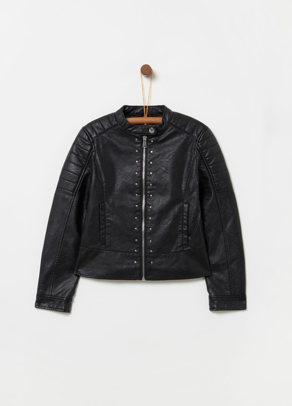 Leather-look 100% viscose jacket with zip