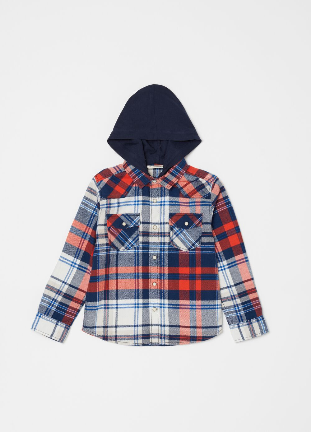 Flannel shirt with hood and pattern