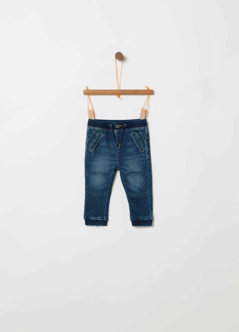 Regular-fit faded jeans with drawstring