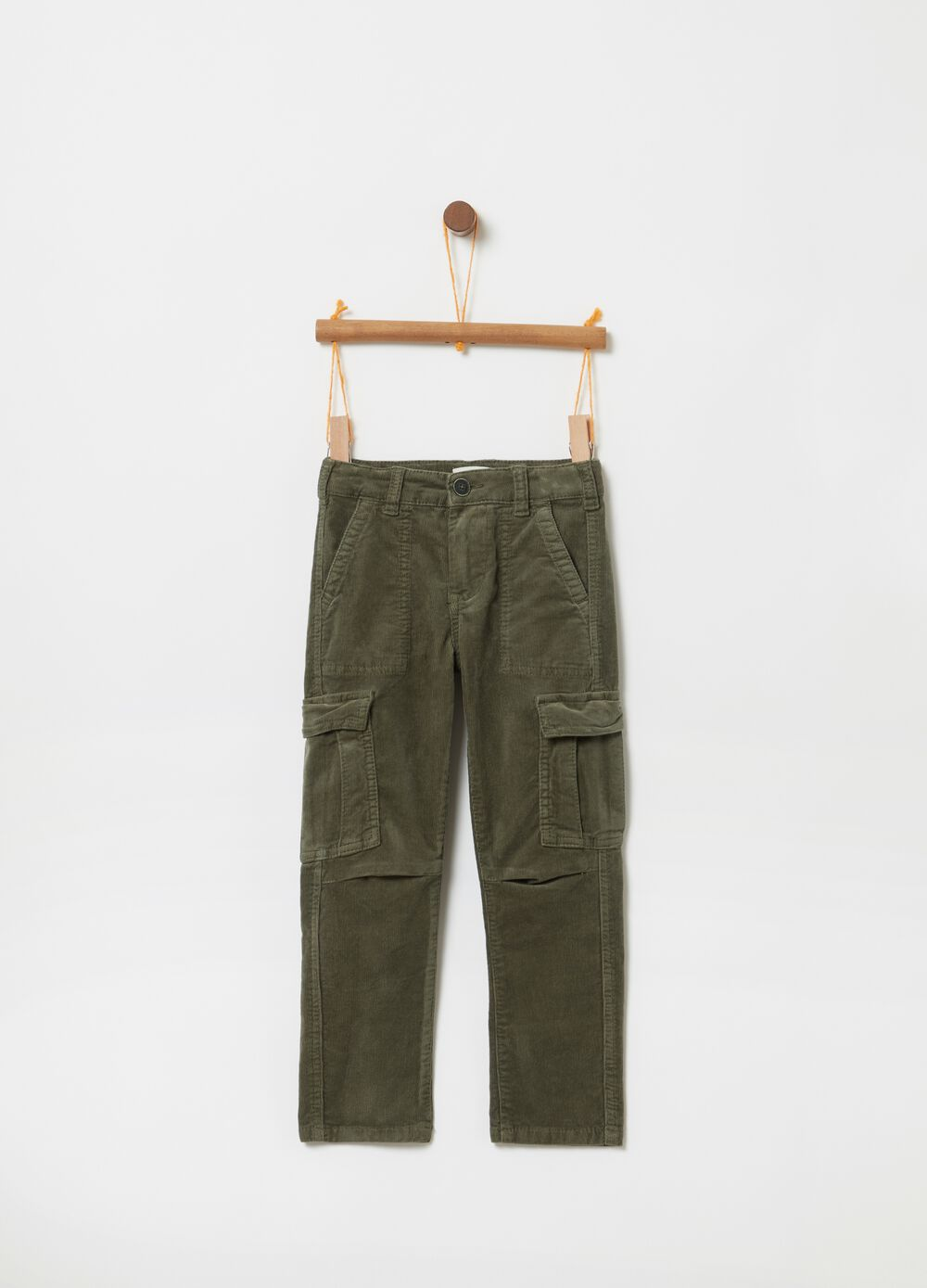 Stretch cotton cargo trousers with pockets