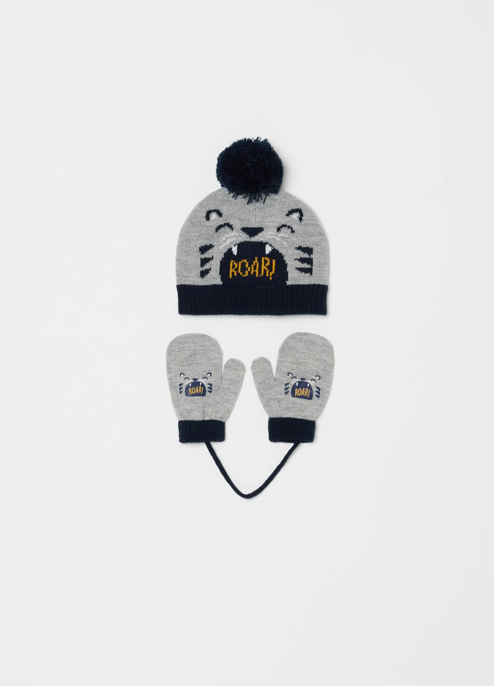 Hat and mittens set with tiger print