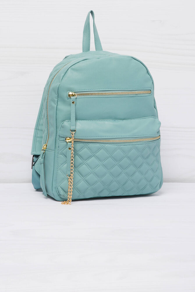 Solid colour leather look backpack