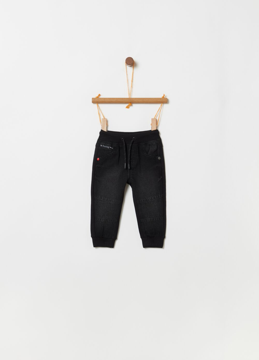 Regular-fit jeans with drawstring and print